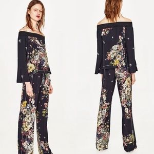 Zara Tops - 🌸⬇️Zara Scarf Print Off Shoulder Top&Palazzo Pant
